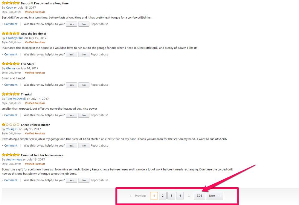 Screenshot Amazon No. Reviews