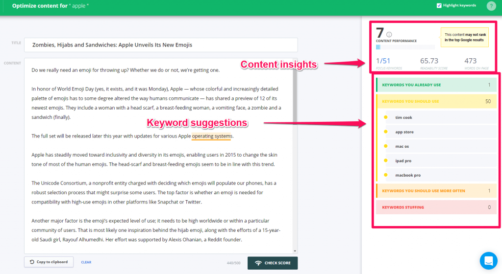check content with Content Assistant
