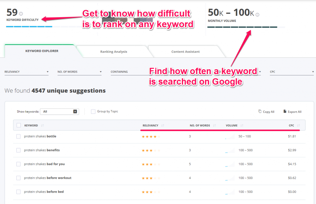 the keyword tool from cognitiveSEO1