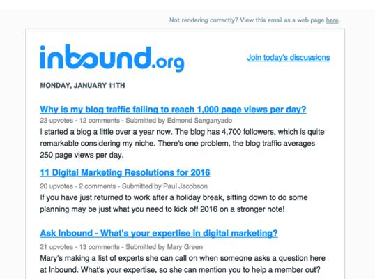 Inbound newsletter
