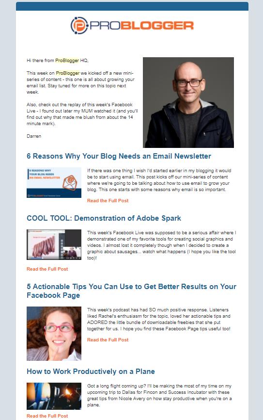 Problogger newsletter