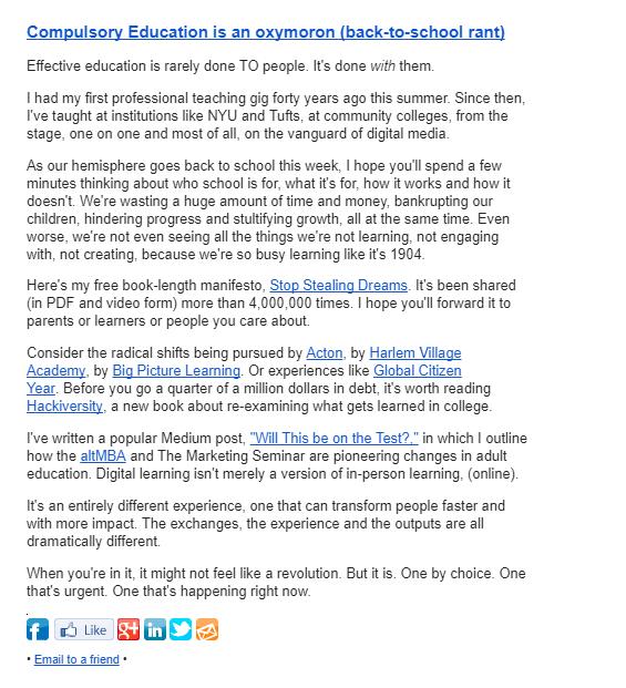 Seth Godin newsletter