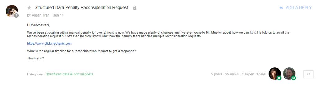 google forum question