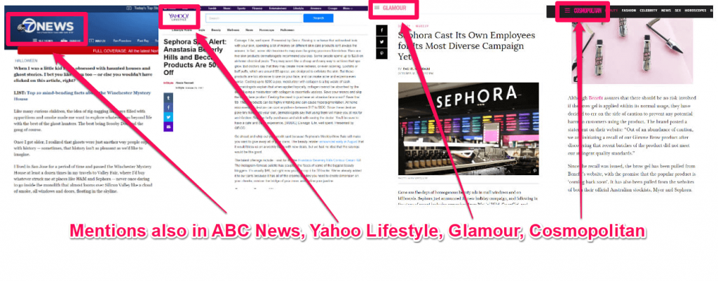 Sephora mentions online publications