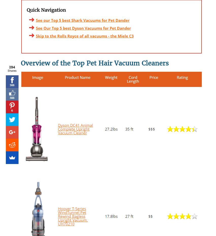 Vacuum reviews - bad example