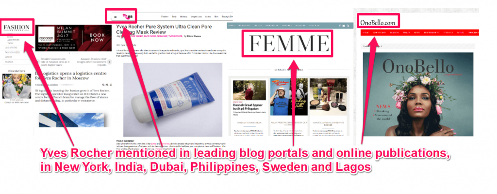 Yves Rocher mentioned in online publications