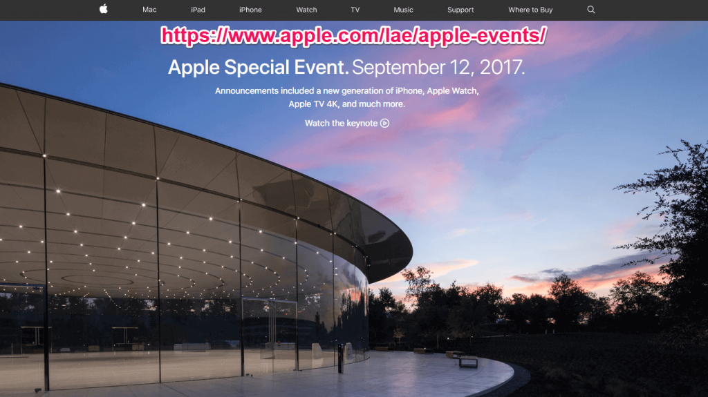 Apple Events page