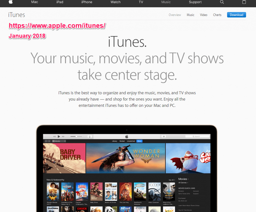 Apple itunes january 2018