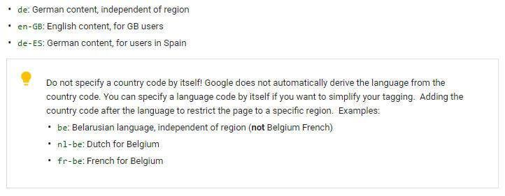 correct language codes hreflang