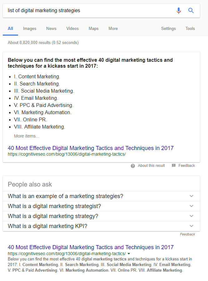 list of digital marketing strategies SERP