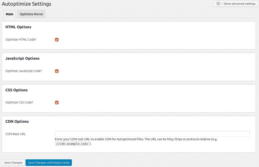 Autoptimize CSS and JavaScript