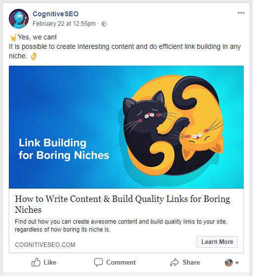 facebook share on previous article about building links in boring niches