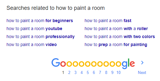 Google related searches for how to paint a room