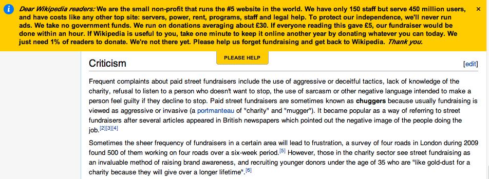 Reklaminė antraštė Vikipedijoje, prašanti vartotojų paaukoti svetainę.