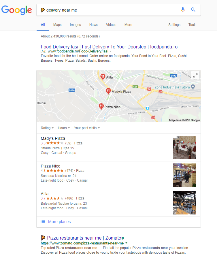 Pizza emoji search on Google for local SEO