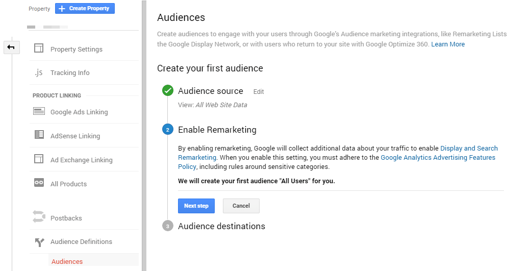 Creating Audiences in Google Analytics