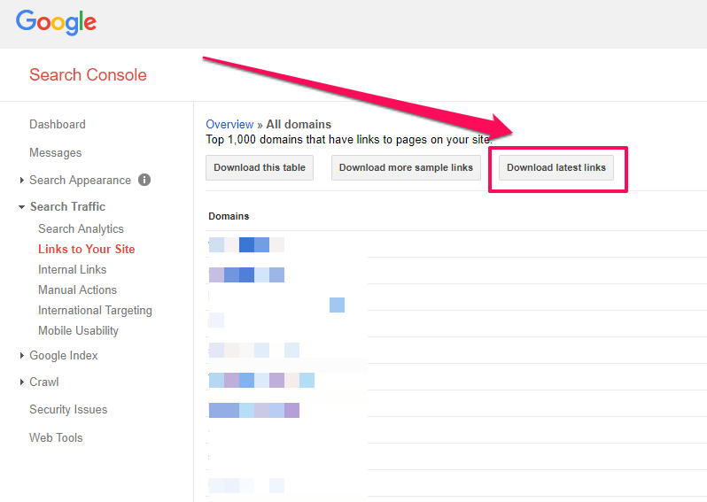 Download links from Search Console