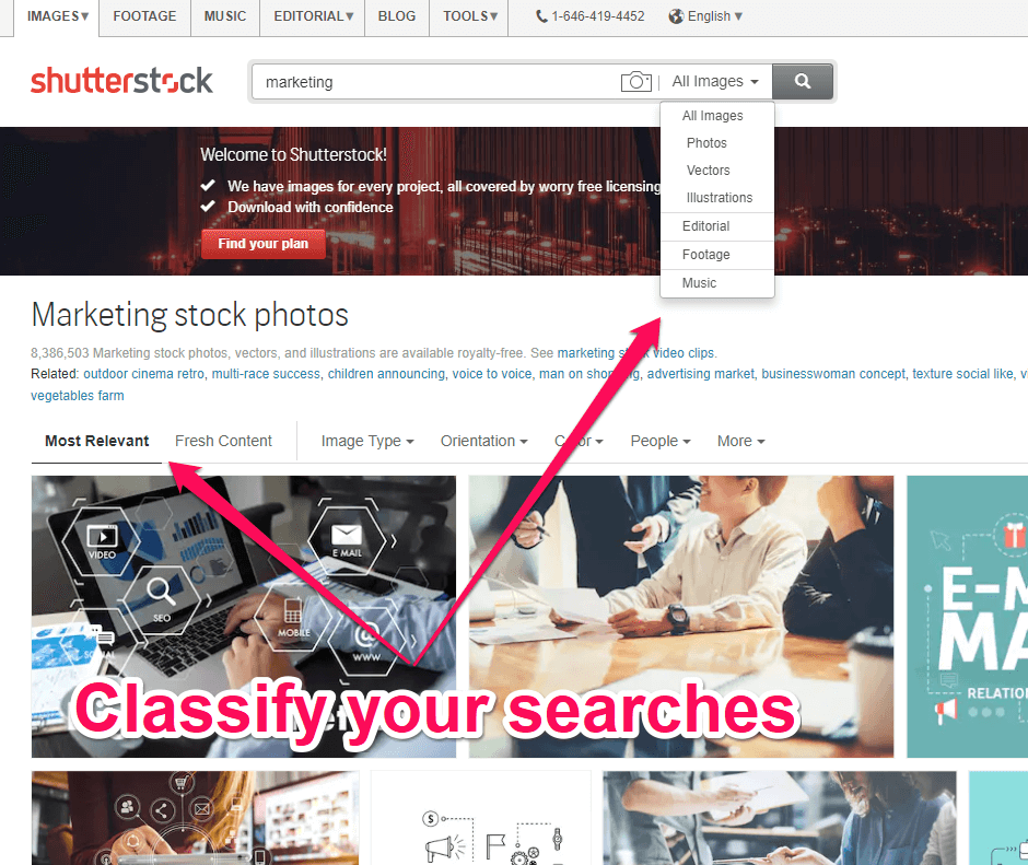 Classify searches on Shutterstock