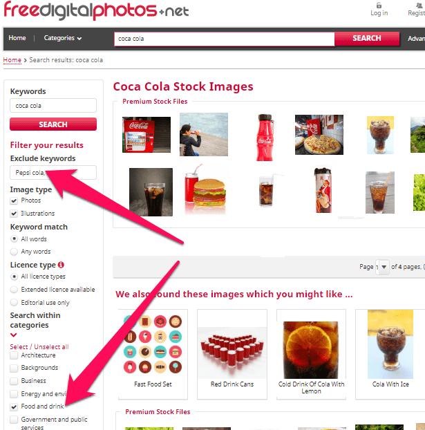 Coca Cola search on Freedigitalphotos