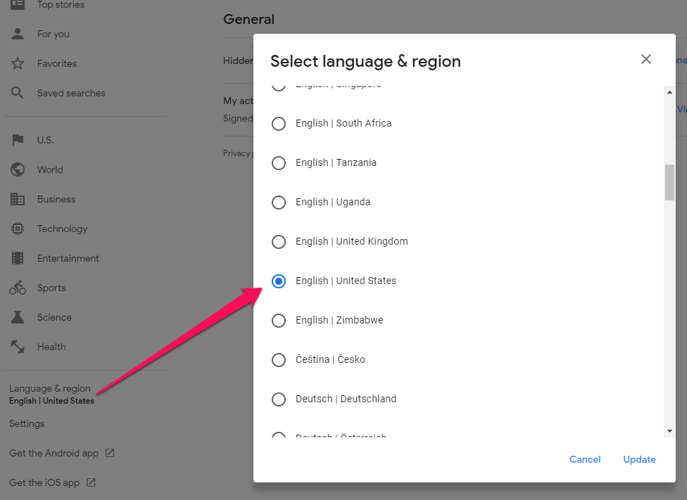 Select language and country in Google news