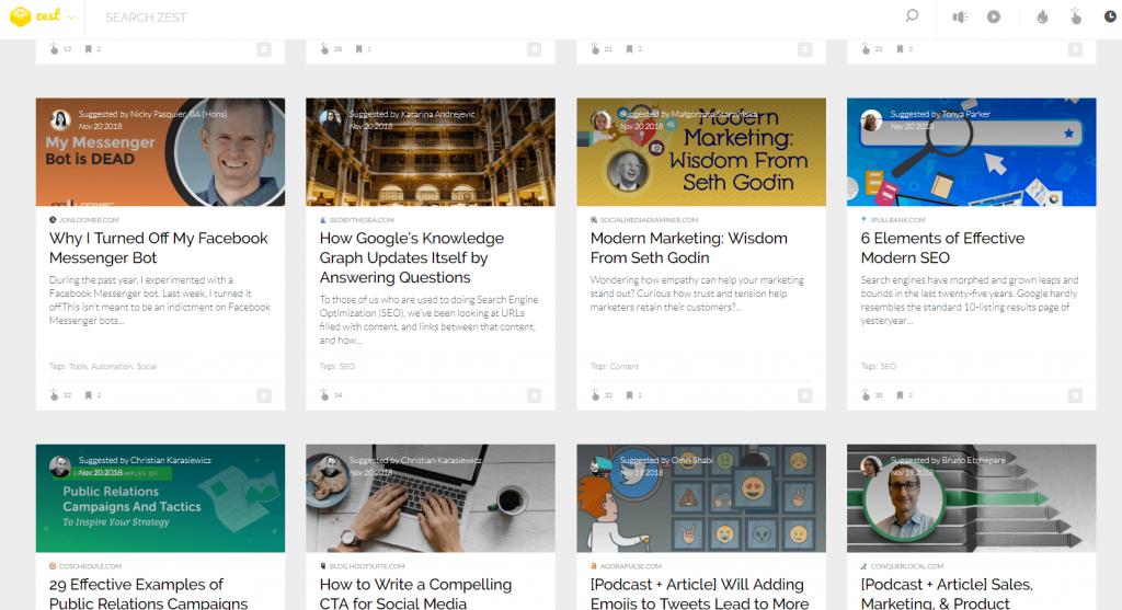 Zest - content distribution platform
