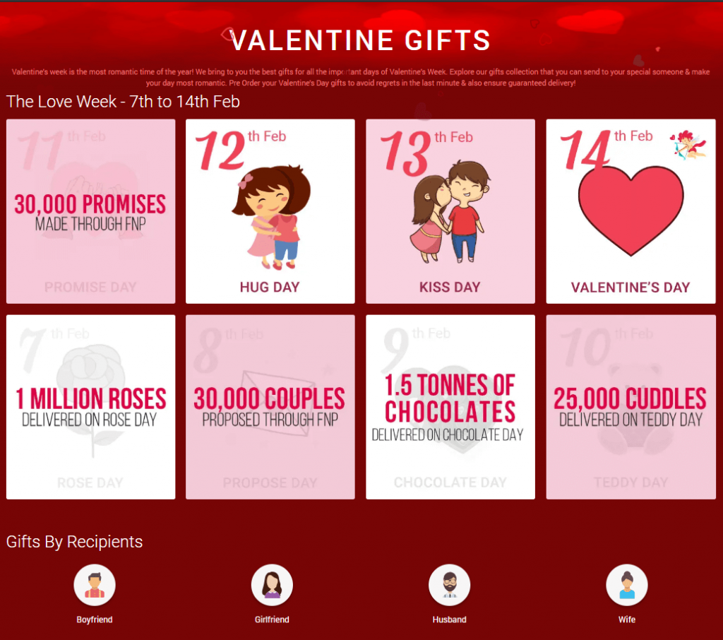 Valentine's day themed webpage