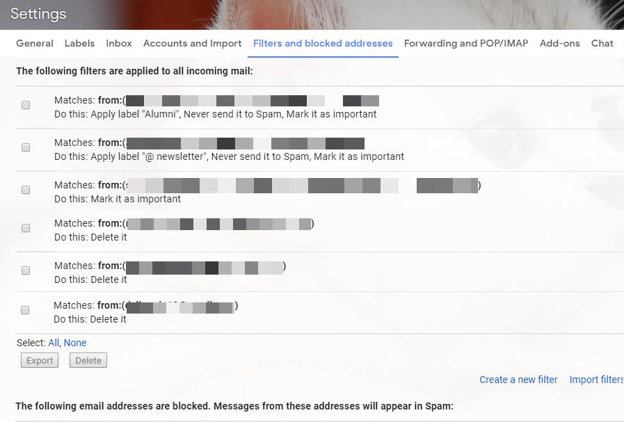 """Gmail"" filtrai"