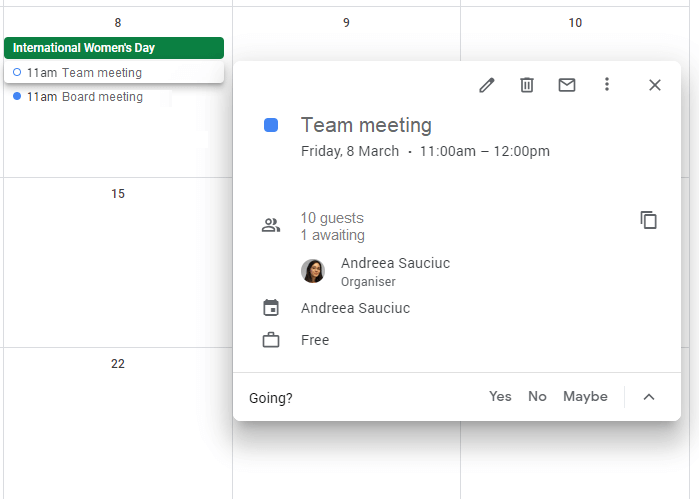 Google Calendar meeting