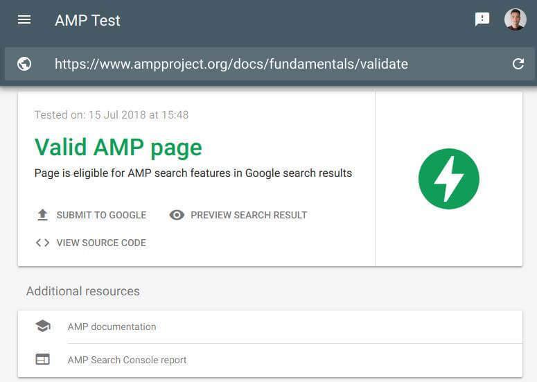 Tinkamas AMP puslapis