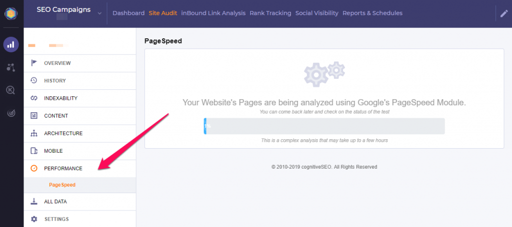 Page Speed Insights CognitiveSEO