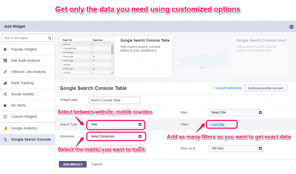 Customize cognitiveSEO widgets