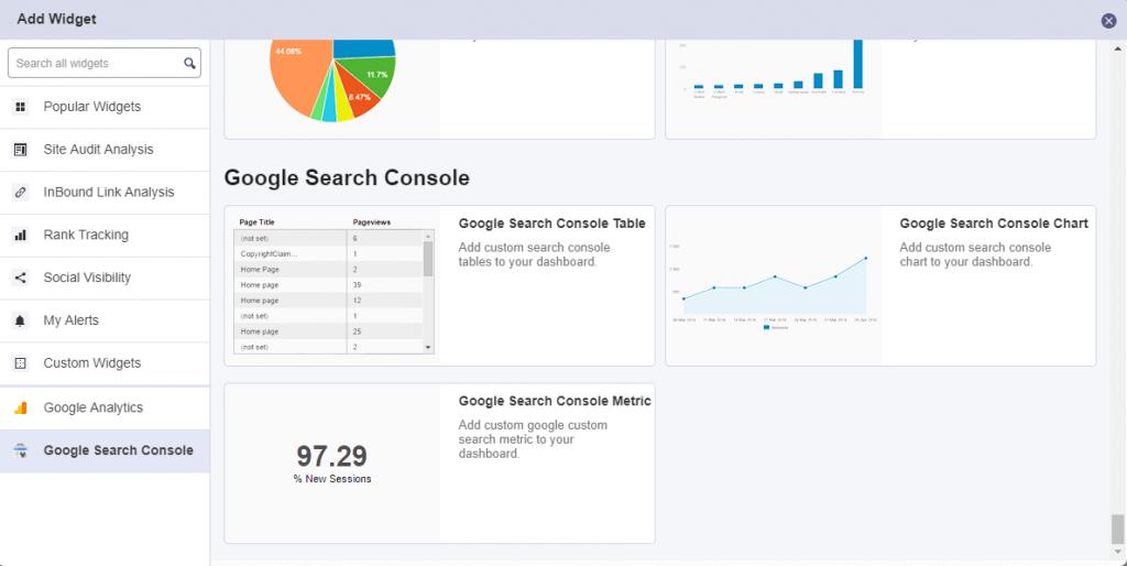 Google Search Console widgets