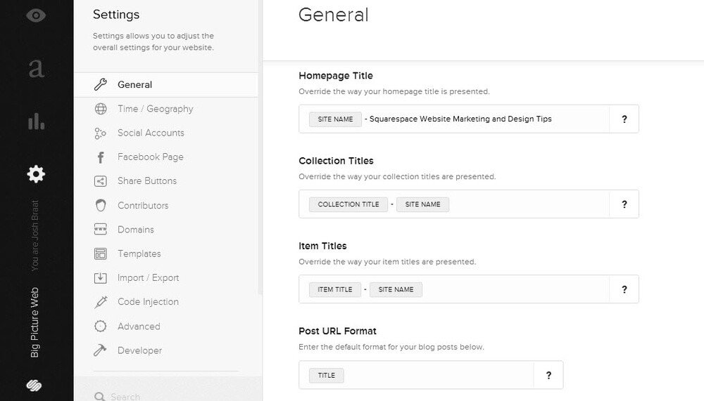 Squarespace settings