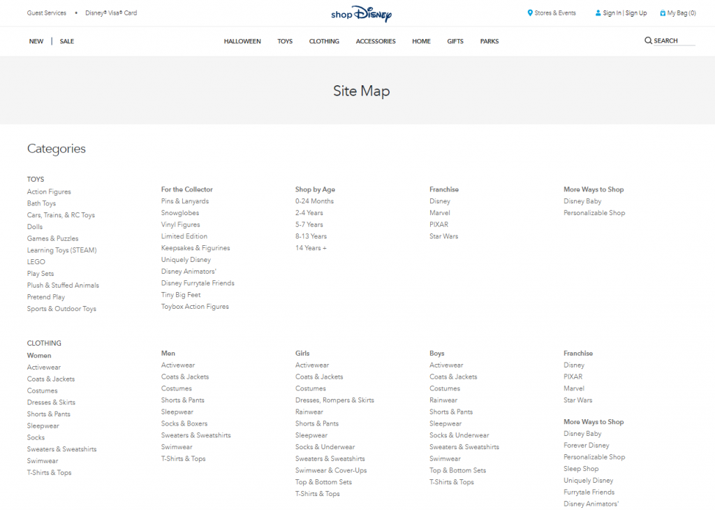 Ejemplo de mapa de sitio HTML de Disney Store