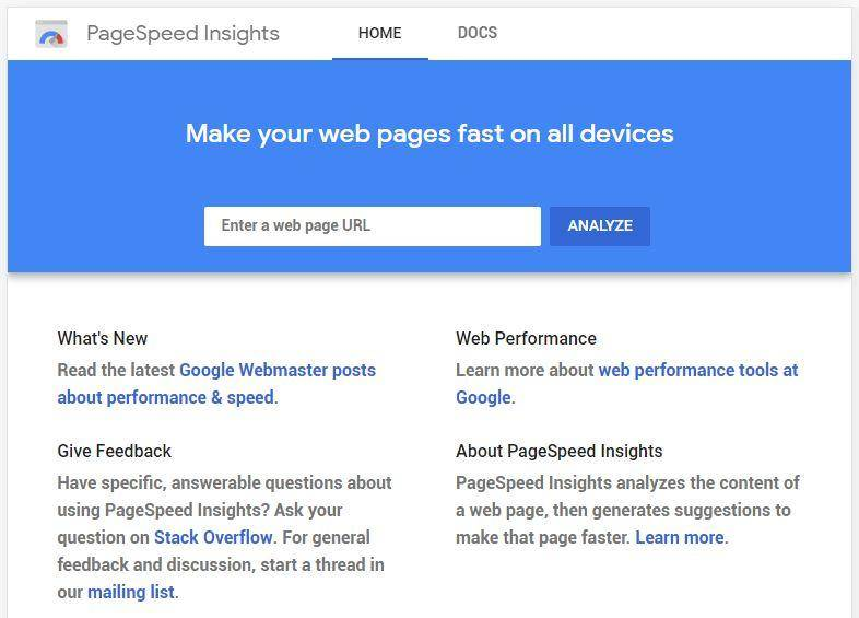 PageSpeed Insights Home