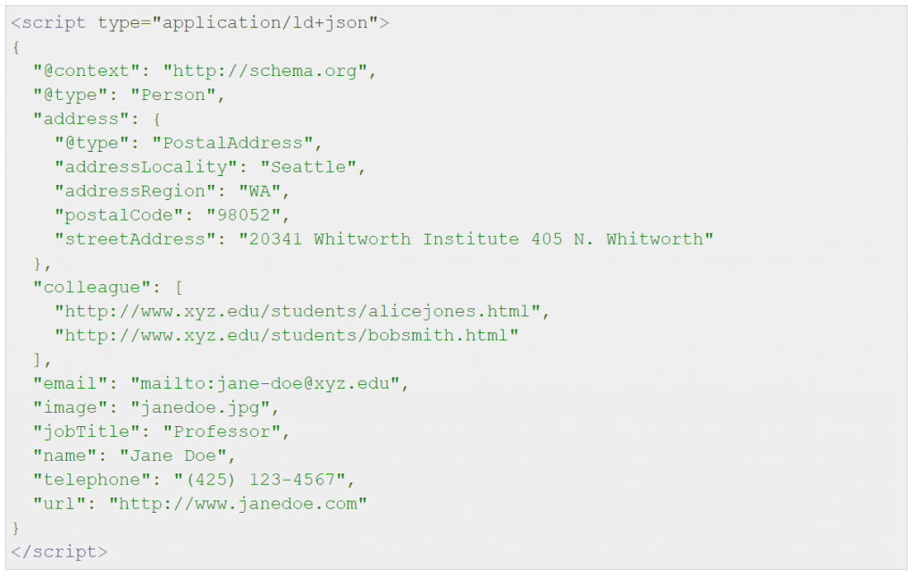 Address Structured Data in JSON LD Format