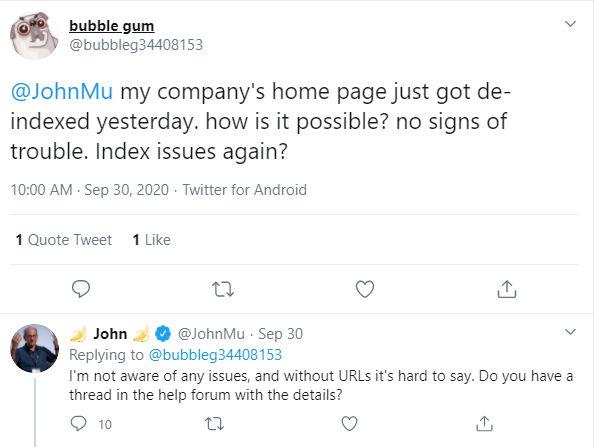 tweet 30 sept indexing issue